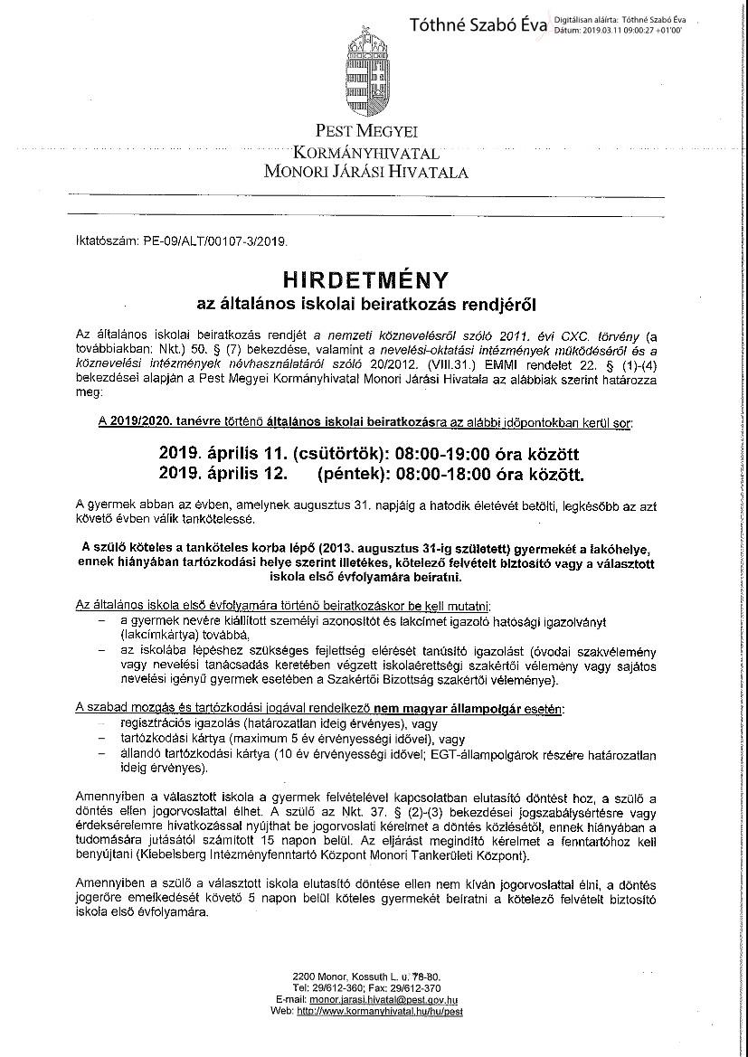 Hirdetmény általános iskolai beiratkozás rendjéről_aláírt_1