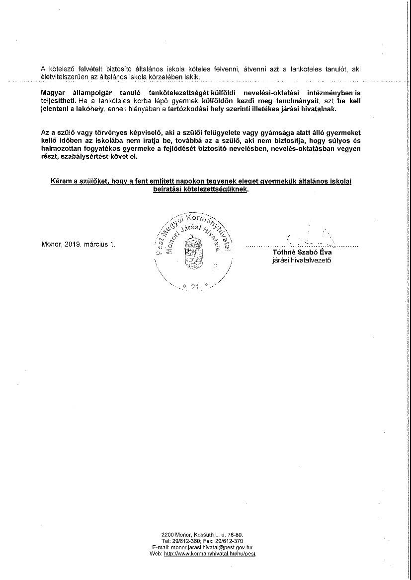 Hirdetmény általános iskolai beiratkozás rendjéről_aláírt_2