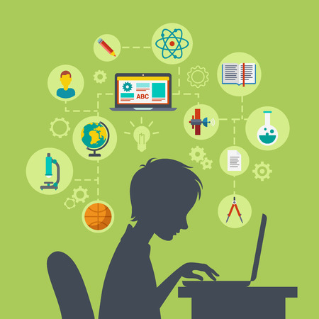 48577777 - flat style modern web infographic e-learning, online education, knowledge power, perspective, future growing concept vector illustration. young school boy silhouette over table with laptop excited.